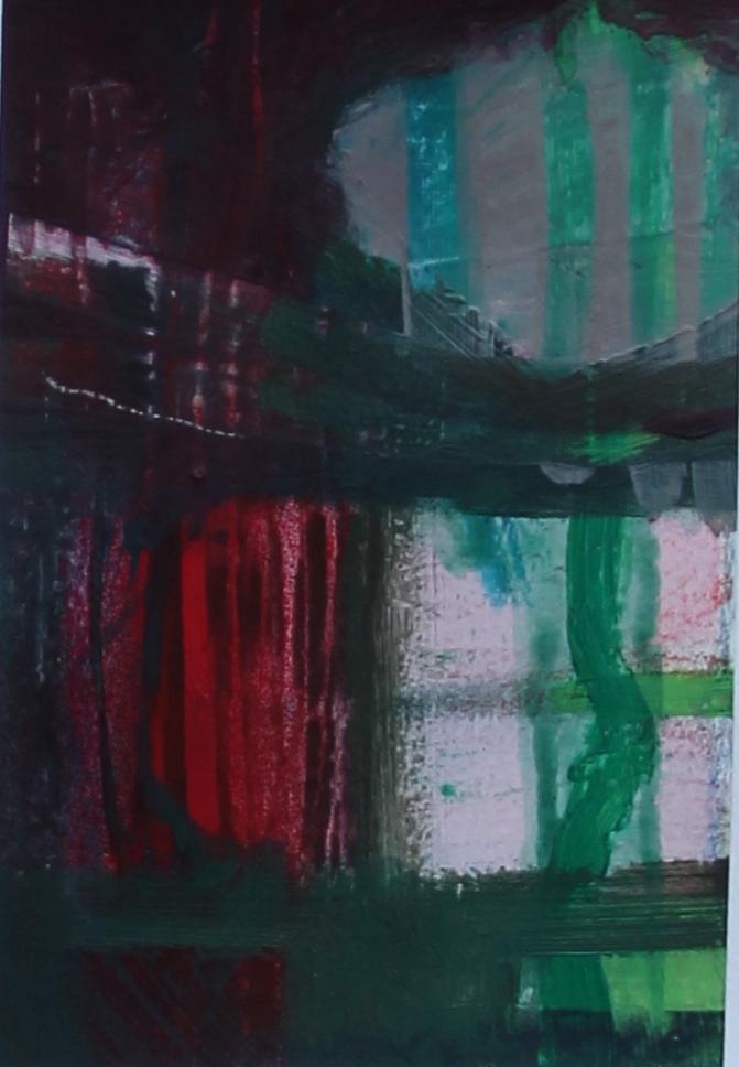 P 2016-D 10x15 cm, acryl en kleurpotlood op papier