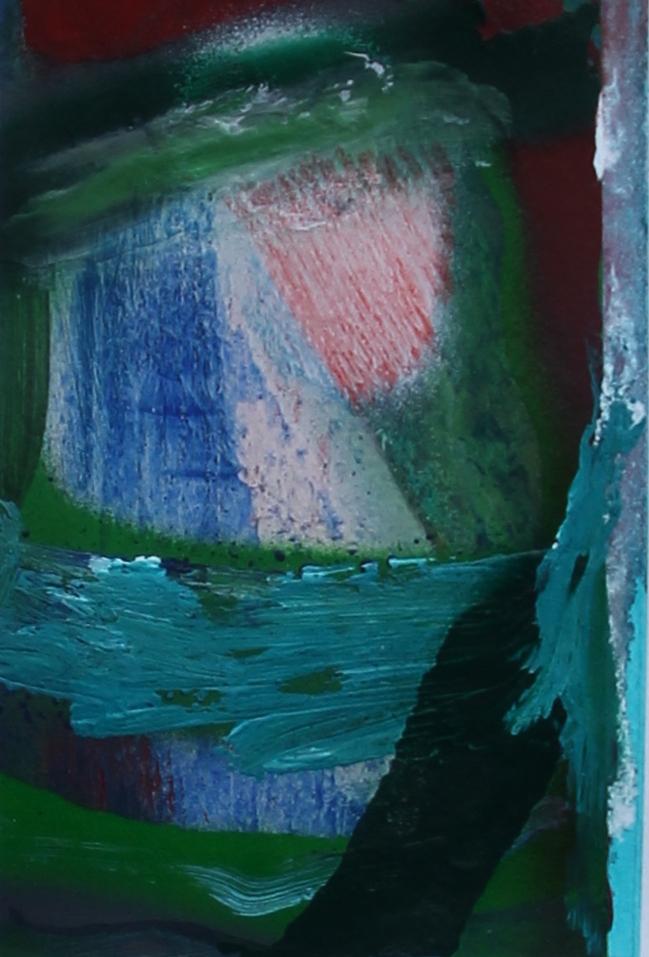 P 2016-E 10x15 cm, acryl, spuitbus en kleurpotlood op papier