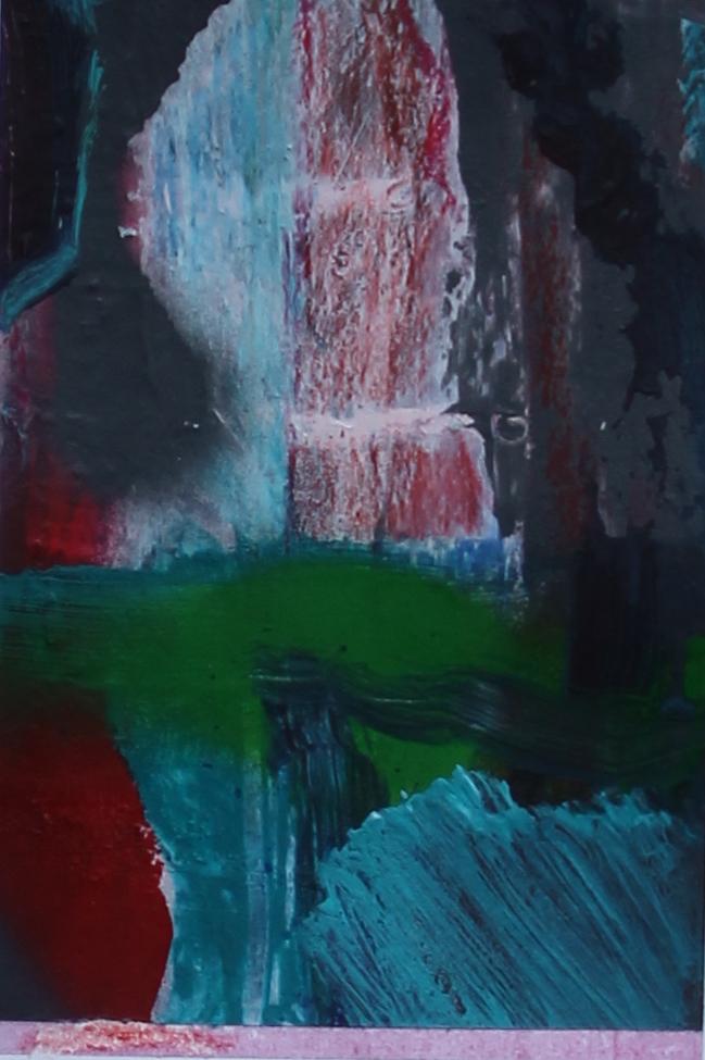 P 2016-F 10x15 cm, acryl, spuitbus en kleurpotlood op papier