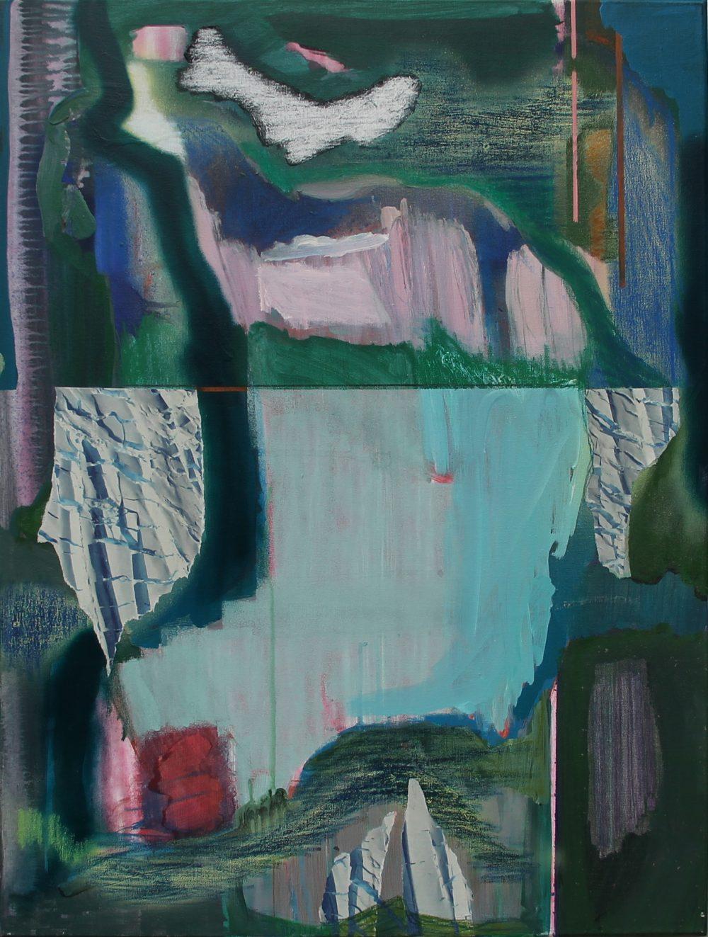 2018-E 60x80 cm, acryl, spuitbus en papier op doek
