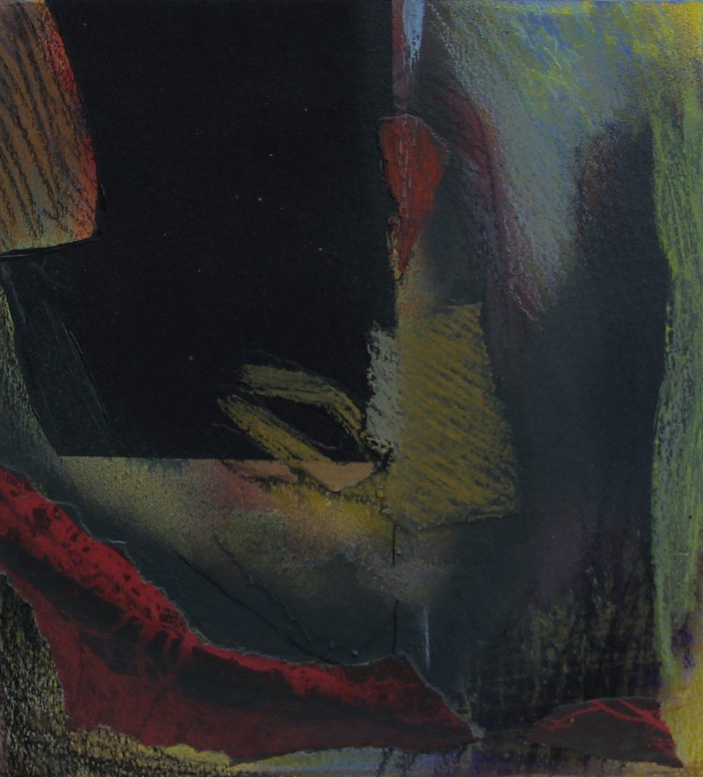 P 2017-L 20,5x23,5 cm, acryl, spuitbus, krijt en papier op papier