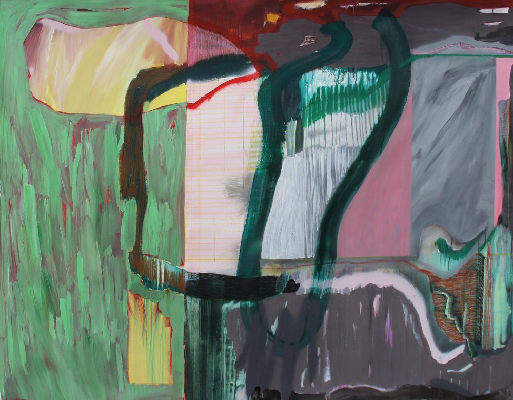GW 2018-B 195x155 cm, gouache, acryl, spuitbus en potlood op doek