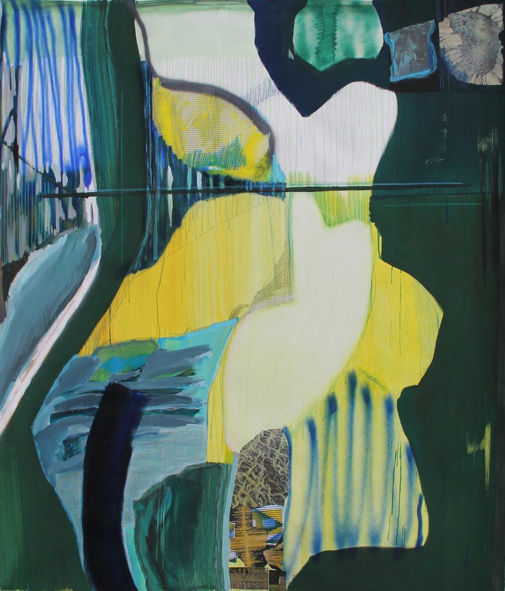GW 2018-E 165x200 cm, gouache, acryl, spuitbus, papier en potlood op doek
