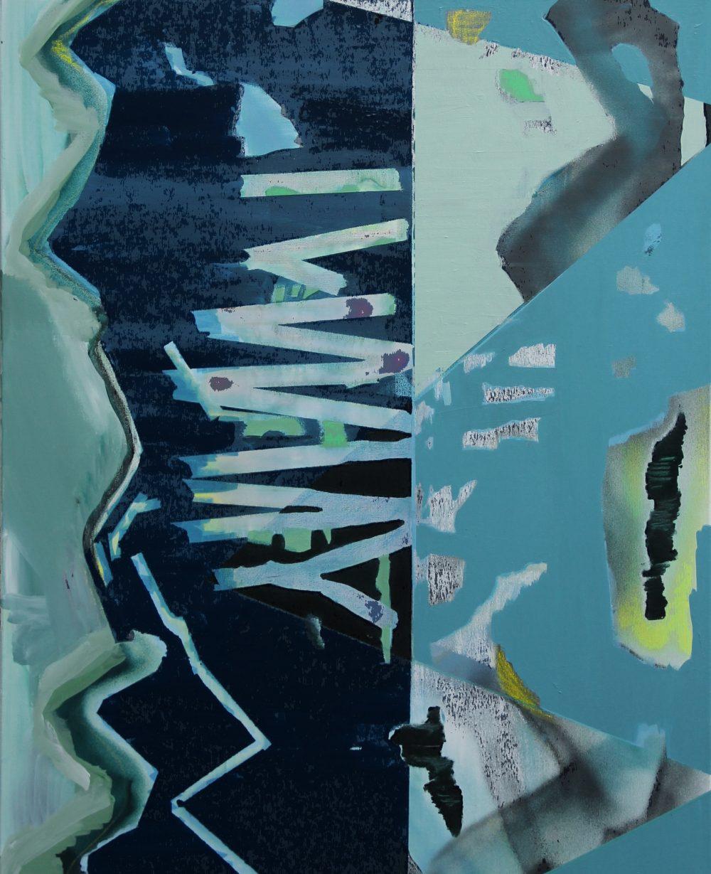 2019-B 80x100 cm, acryl, spuitbus, krijt en potlood op doek