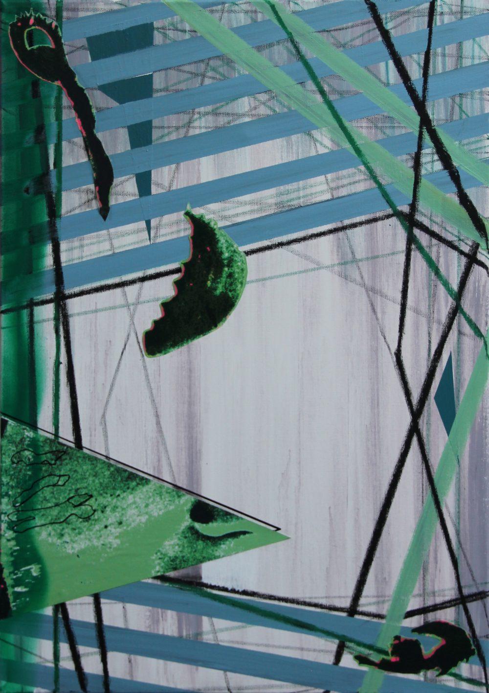 2019-D 50x70 cm, acryl, krijt, papier, spuitbus en potlood op doek