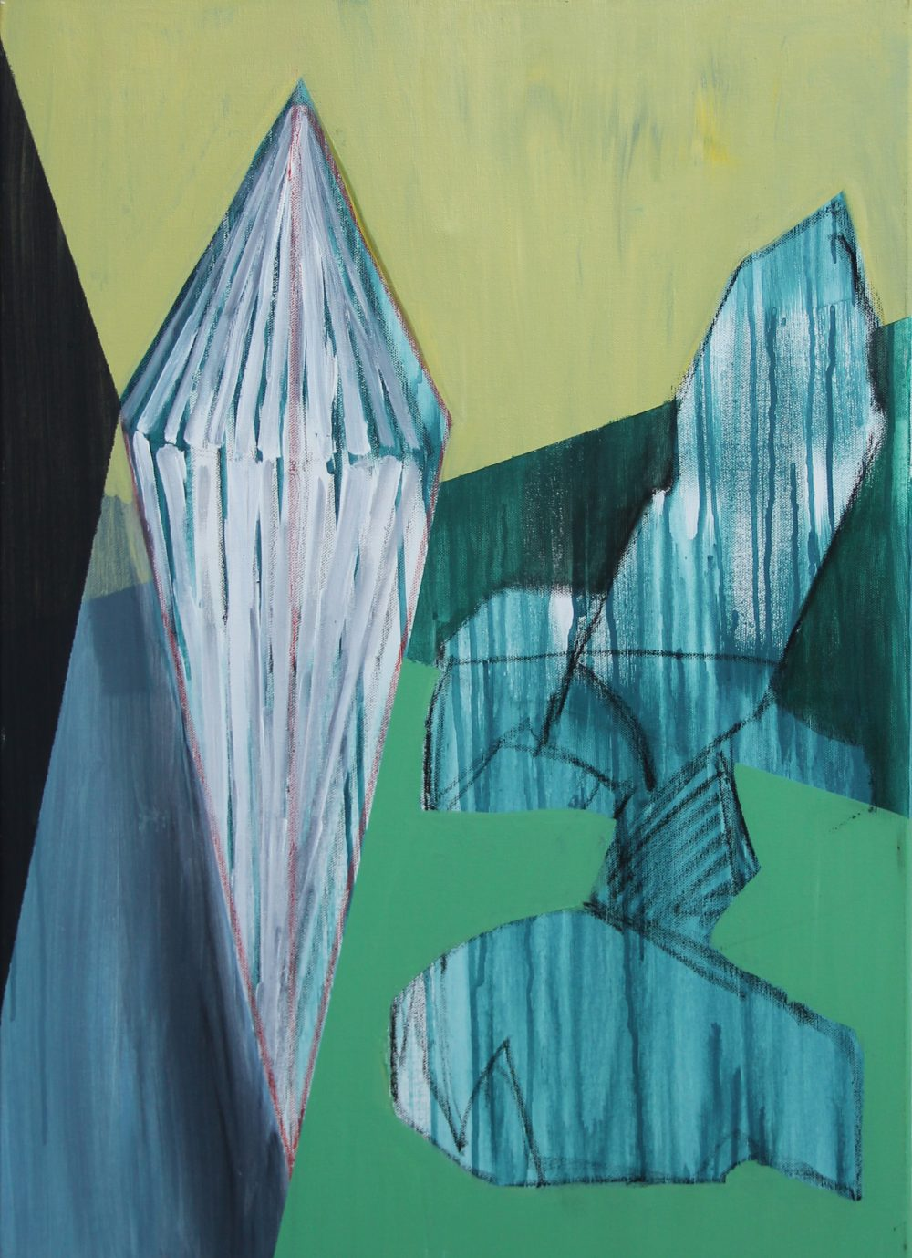 2019-E 50x70 cm, acryl, spuitbus en potlood op doek