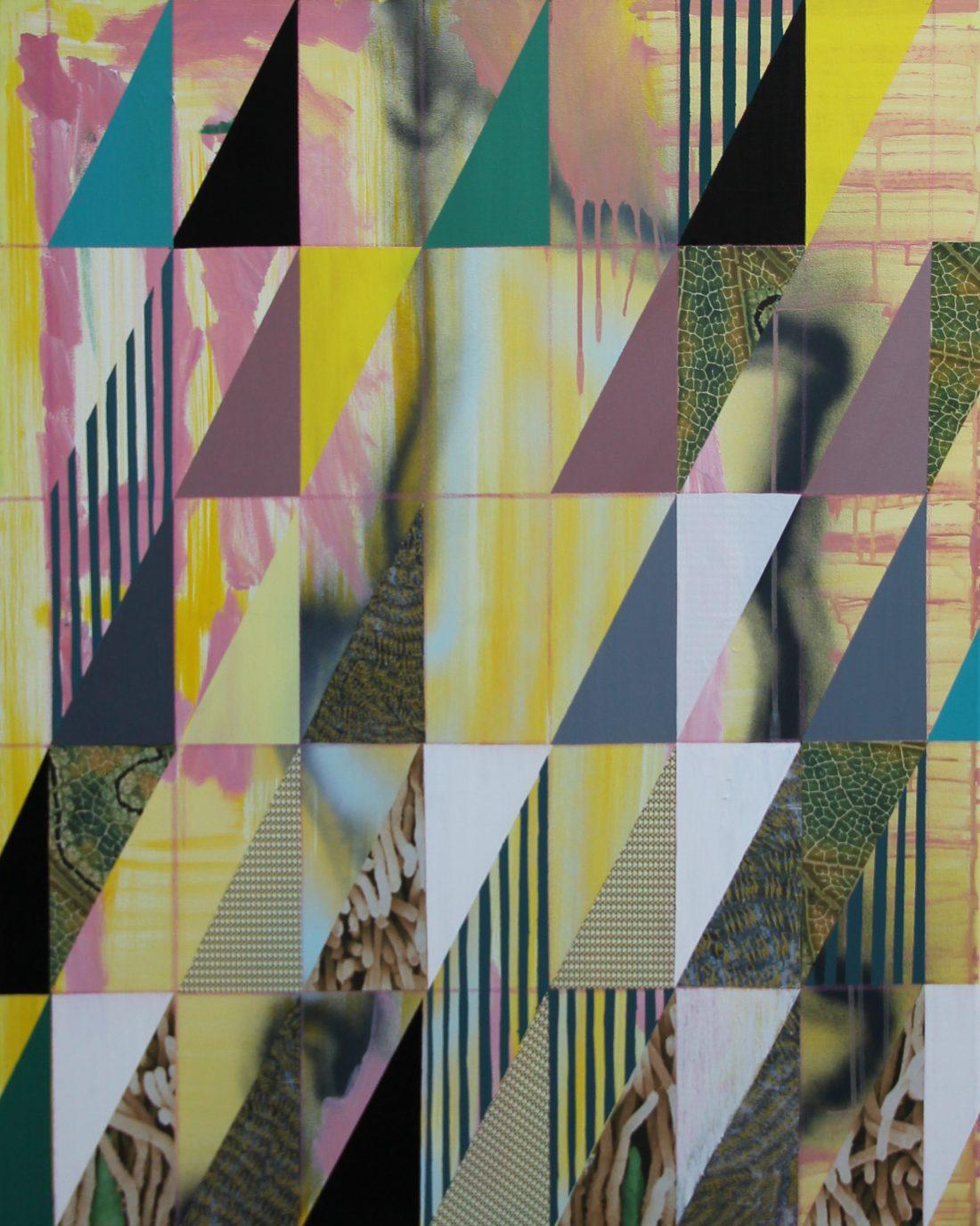 2019-F 80x100 cm, acryl, spuitbus, papier, potlood en krijt op doek