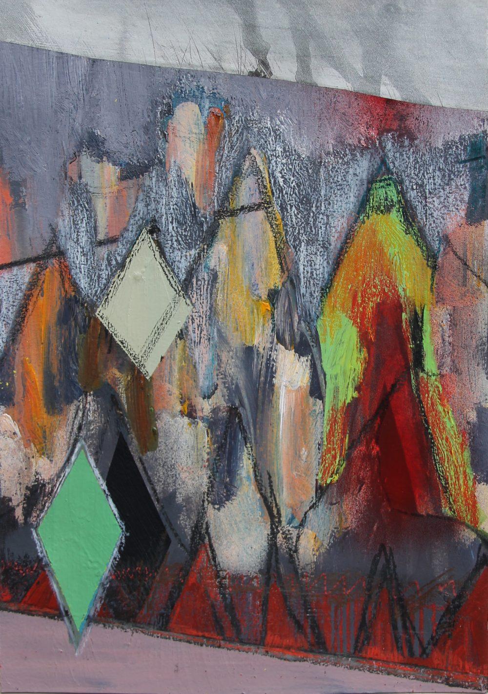 P 2019-N 21x30 cm, acryl, papier en potlood op papier