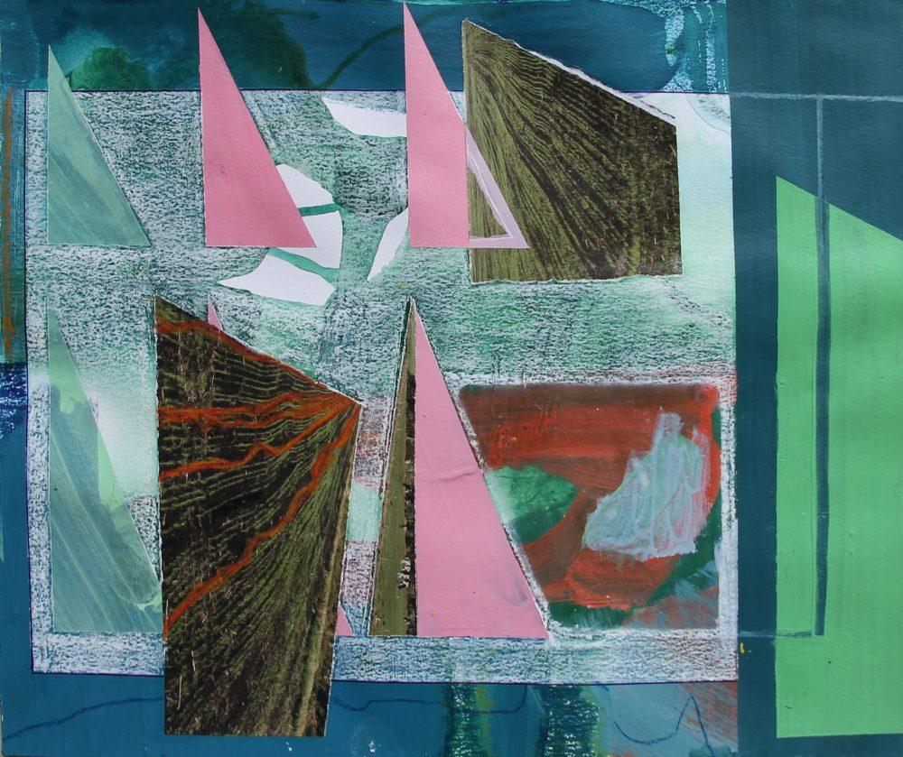 P 2019-R 35,5x29,5 cm, acryl, papier en krijt op papier